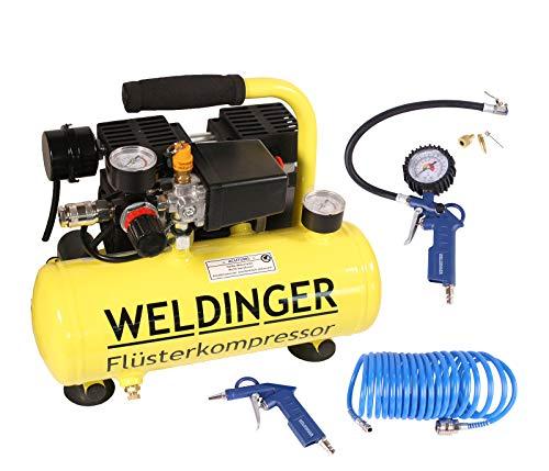 Aktionsset WELDINGER Flster Kompressor FK 40 compact + Druckluftset 6-teilig
