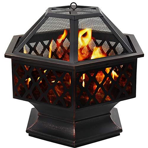 DAWOO Feuerschale für den Außenbereich Gartenöfen, sechseckiger Feuerkorb Garten feuerschale,feuerstelle...