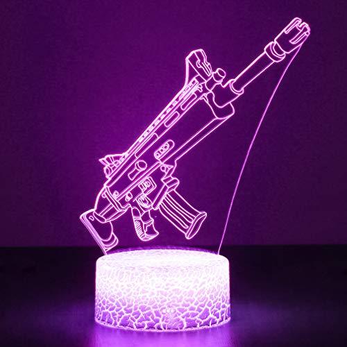 3D Festungslampe Battle Bus RGB Stimmungslampe 7 Farben Sockel Acryl Stereo Illusion LED Tischleuchte...