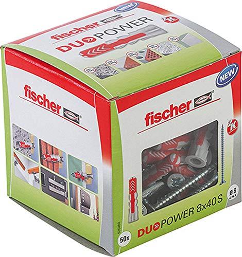 fischer DUOPOWER 8 x 40 S, Universaldübel mit Sicherheitsschraube, 2-Komponenten-Dübel, Kunststoffdübel zur...