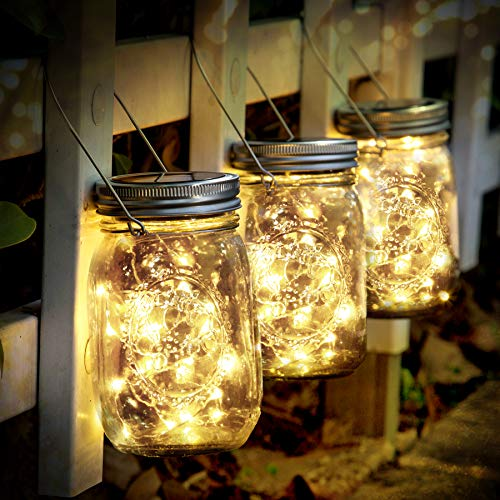 Solarleuchte - SUNNOW 3 Stück Mason Jar Licht 30 LED Wasserdicht Solarlicht Garten Hängeleuchten LED...