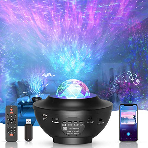 ZOVER LED-Sternenhimmel Projektor,Rotierender Wasserwellen-Sternprojektor,Ferngesteuertes...