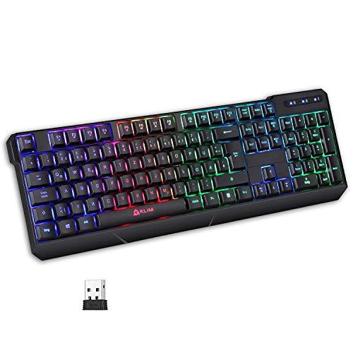 KLIM Chroma Wireless Gaming Tastatur Kabellos QWERTZ DEUTSCH + Langlebig, Ergonomisch, Wasserdicht, Leise +...