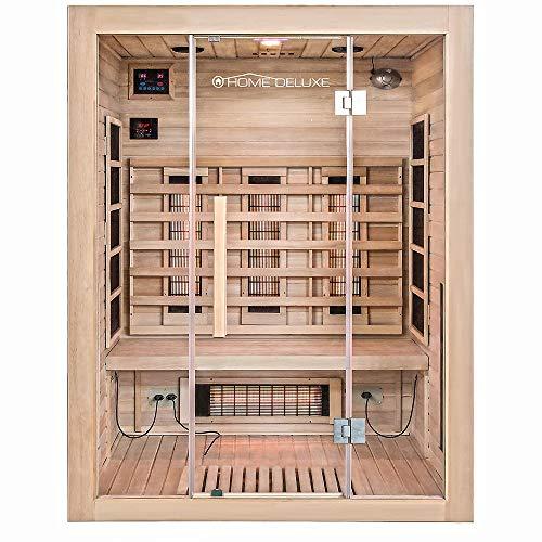 Home Deluxe – Infrarotkabine Sahara L – Vollspektrumstrahler, Holz: Hemlocktanne, Maße: 150 x 120 x 190...
