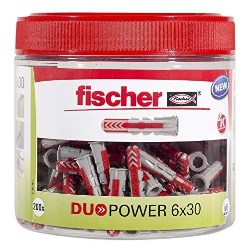 fischer DUOPOWER 6 x 30, handliche Runddose mit 200 Universaldübeln, leistungsstarker 2-Komponenten-Dübel,...