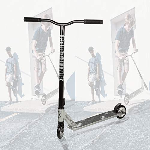 Clothink Stunt Scooter Silber- High End Pro - Funscooter Stunt Roller mit ABEC 9,110 mm PU Räder, bis 100 kg,...
