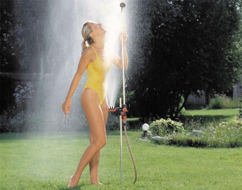 Gardena Gartendusche duo: Dusche mit zwei angenehmen Strahlarten, Brausestrahl oder Sprühnebel, Wassermenge...