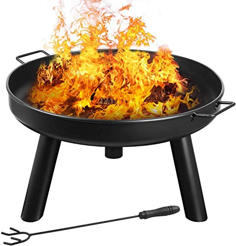 femor Feuerschale Ø60cm mit Griffen, Abnehmbar Metall Feuerkorb mit Feuergabel, Terrasse Garten...