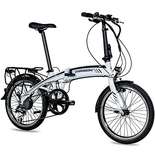 CHRISSON 20 Zoll E-Bike City Klapprad EF1 weiß - E-Faltrad mit Ananda Nabenmotor 250W, 36V und 40 Nm, Pedelec...