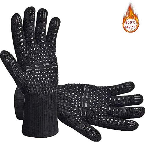 Senders Grillhandschuhe, Ofenhandschuhe Hitzebeständige bis zu 800 ° C Grill Handschuhe Universalgröße...