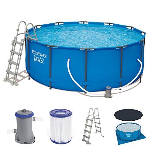 Bestway Steel Pro Frame Pool Komplettset rund, mit Kartuschenfilterpumpe, Leiter und Abdeckplane, 366x122 cm,...