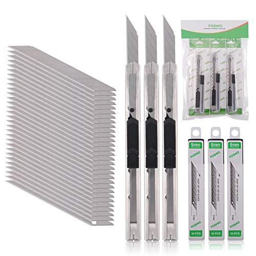 FOSHIO 3pcs Profi Cuttermesser mit 30pcs 9mm Abbrechklingen, Teppichmesser für Folien, Papier, Basteln und...