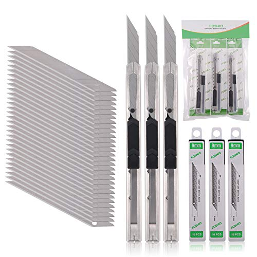 FOSHIO 3 Stück Cuttermesser 9mm mit 30 pcs 30° Abbrechklingen, Cuttermesser Profi, Cutter klingen für...