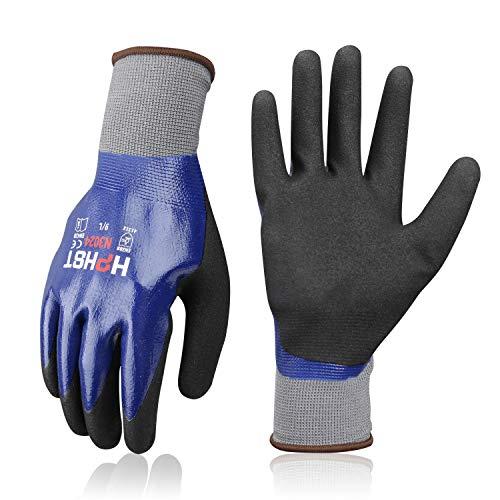 wasserdichte Arbeitshandschuhe - HPHST 3 Paare Nitrilbeschichtung Handschuhe wasserdichte und Öldichte...