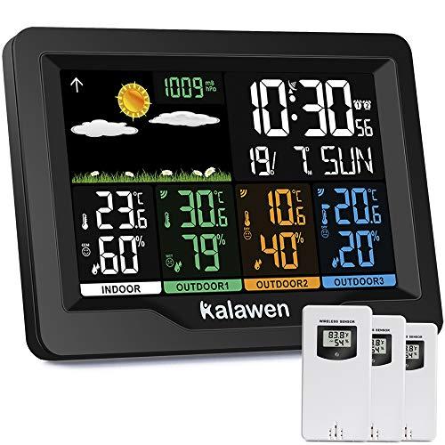 Kalawen Wetterstation 3 Außensensoren Innen und Außen Multifunktional Wetterstationen Farbdisplay Digital...
