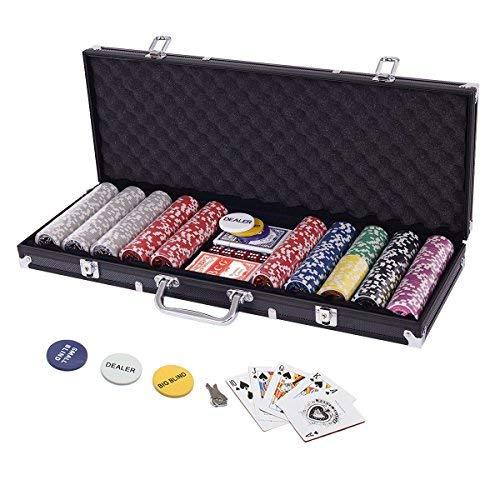 Display4top Pokerkoffer 500 Chips Laser Pokerchips Poker 12 Gramm , 2 Karten, Händler, Small Blind, Big Blind...