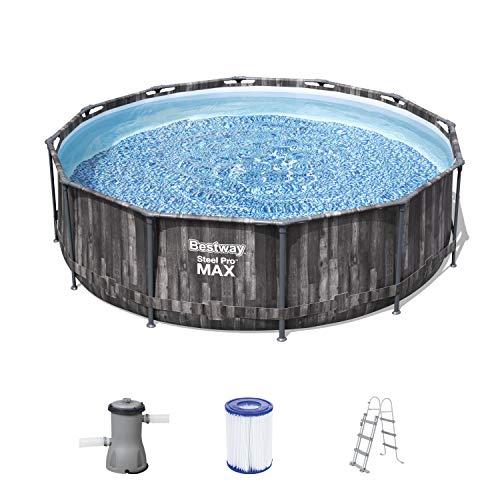 Bestway Steel Pro MAX Frame Pool,366 x 100 cm, Komplett-Set mit Filterpumpe, rund, Holz-Optik