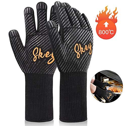Grillhandschuhe Ofenhandschuhe Grill Handschuhe zubehör Hitzebeständige bis zu 800 ° C Universalgröße...