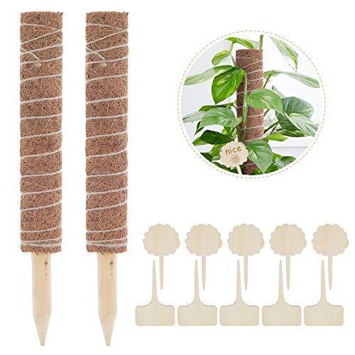 Lemecima 2 Stück 41CM Moosstab Rankhilfe Pflanzstab mit 10 Pflanzschilder für Pflanzenname Pflanzzeit...