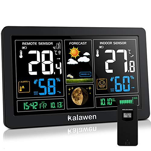Kalawen Wetterstation mit Außensensor Funk 9-IN-1 Farbdisplay Digital Funkwetterstation DCF-Funkuhr...