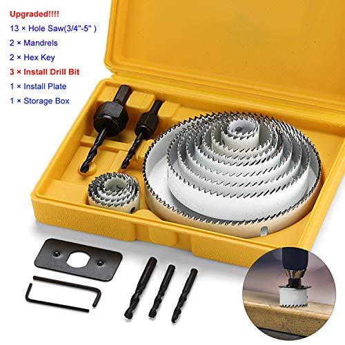 EXLECO 21 Stück Lochsäge-Set aus Kohlenstoffstahl Schnittdurchmesser 19mm-127mm Weiß für Normales Holz...