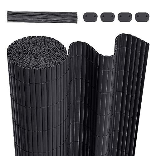 LARMNEE PVC Zaun Sichtschutzmatte, 90 x 600 cm Balkonverkleidung, Sichtschutzzaun, mit verstärkten Lamellen...