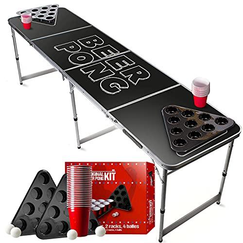 Offizieller Black Beer Pong Tisch Set | Full Beer Pong Pack | Inkl. 1 Beer Pong Tisch + 2 Beer Pong Rack + 22...