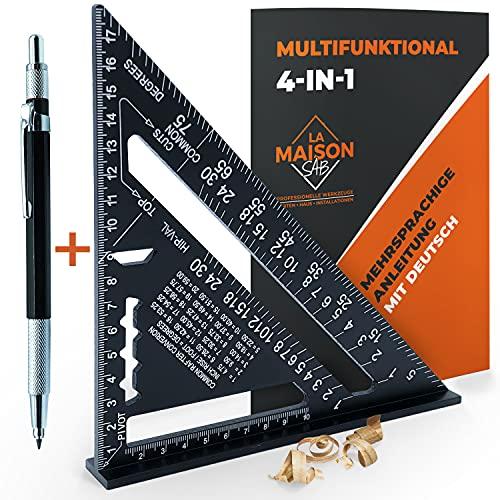 Zimmermannswinkel MULTIFUNKTIONAL 180 mm [BLEISTIFT + ANLEITUNG DE] Aluminium, Lineal Anschlagwinkel...