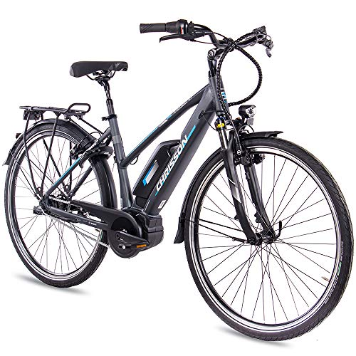 CHRISSON 28 Zoll Damen Trekking- und City-E-Bike - E-Rounder anthrazit matt - Elektro Fahrrad Damen - 7 Gang...