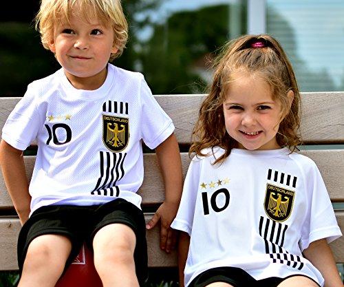 DE-Fanshop Deutschland Trikot + Hose mit GRATIS Wunschname + Nummer + Wappen Typ #D 2017 im EM/WM Weiss -...
