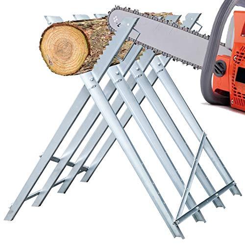 BMOT Sägebock Metall verzinkt 150kg Belastbarkeit 80x81x80cm Holzschneidebock Sägehilfe Holzsägebock...