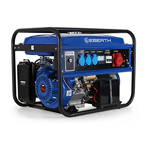 EBERTH 5500 Watt Benzin Stromerzeuger (E-Start, 13 PS Benzinmotor, 4-Takt, luftgekühlt, Ölmangelsicherung,...