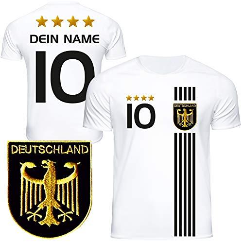 DE FANSHOP Deutschland Trikot mit GRATIS Wunschname + Nummer #D5 2021 2022 EM/WM weiß - Geschenk für Kinder...