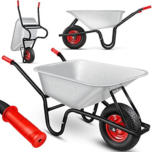MASKO® Schubkarre Bauschubkarre Gartenschubkarre 100 Liter bis 250kg Luftreifen mit Stahlfelge verzinkt...