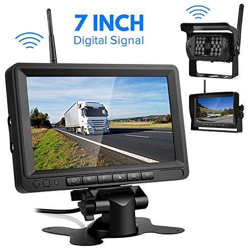 Kabellos Digital Rückfahrkamera Set, 7' LCD Funk rückfahrkamera drahtlos mit Monitor,IP68 Wasserdicht Super...