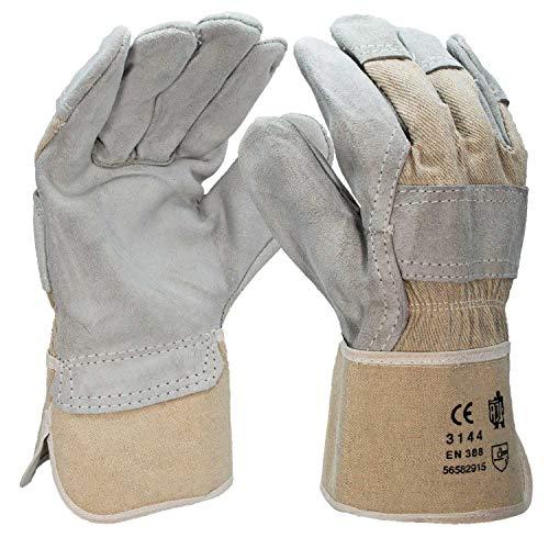 5 Paar Arbeitshandschuhe aus Leder - robuste Handschuhe für Gartenarbeit & Montage - Schutzhandschuhe nach EN...