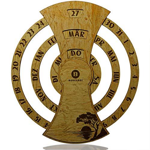 BENCARDI® Limited Edition - Premium Wandkalender aus Holz - Dauerkalender Durchmesser 45cm - Holzdicke 1cm