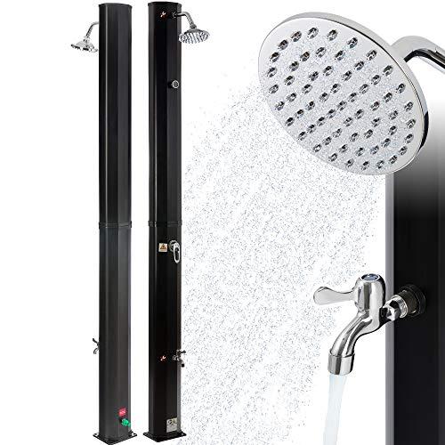 Arebos Solardusche | 35 Liter | 216 cm | mit integriertem Thermometer | Schwarz | runder Duschkopf | mit...