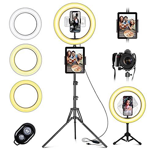 LED Ringlicht mit Stativ Handy, 10' Selfie Ringleuchte mit Fernbedienung und Doppel Handyhalter mit 3 Farbe&10...
