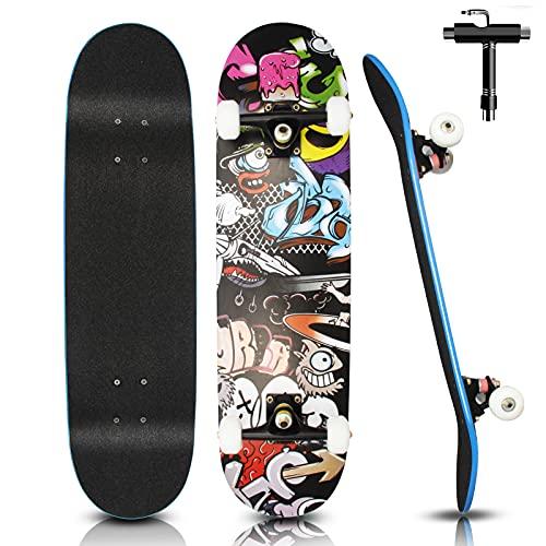 Skateboard Komplett 79x20cm für Kinder Erwachsene Jugendliche, 7-lagigem Cruiser Skateboards Komplettboard...
