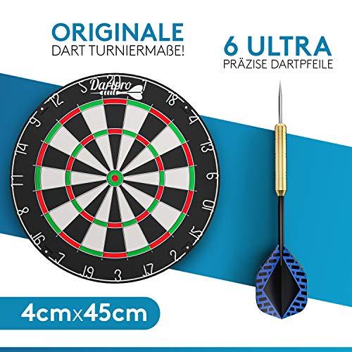 DartPro [DAS ORIGINAL - Dartscheibe mit Pfeilen - Profi Steeldartscheibe aus hochwertigstem Sisal - Dartboard...