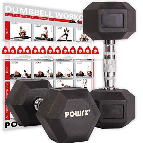 POWRX Hexagon-Hanteln (Paar) inkl. Workout   2-32,5 kg   gummiert   rutschsichere, verchromte Griffe  ...