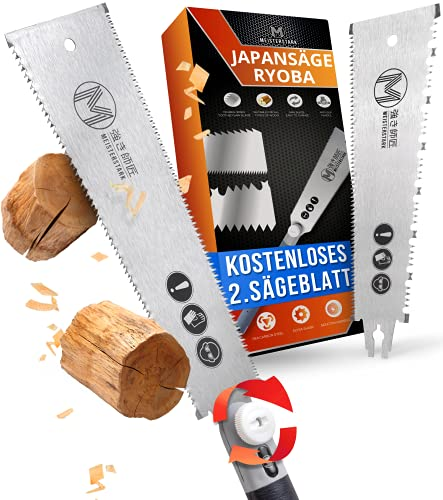 MEISTERSTARK® Japansäge Ryoba Set [2. SÄGEBLATT GRATIS] - Japanische Säge für Heimwerker - Profi Ryoba...