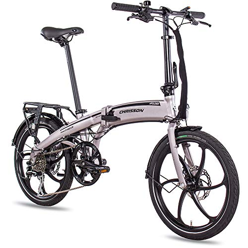 CHRISSON 20 Zoll E-Bike Klapprad eFolder hellgrau - E-Faltrad mit AIKEMA Nabenmotor 250W, 36V, 30 Nm, Pedelec...