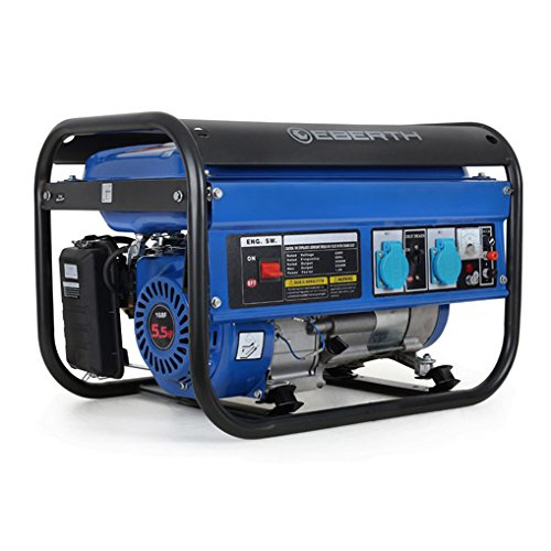 EBERTH 2200 Watt Benzin Stromerzeuger (5,5 PS Benzinmotor, 4-Takt, luftgekühlt, 2x 230V, 1x 12V,...