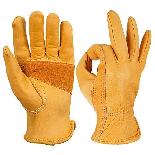 OZERO Arbeitshandschuhe,Lederhandschuhe zum Arbeiten, Gartenarbeit,1 Paar