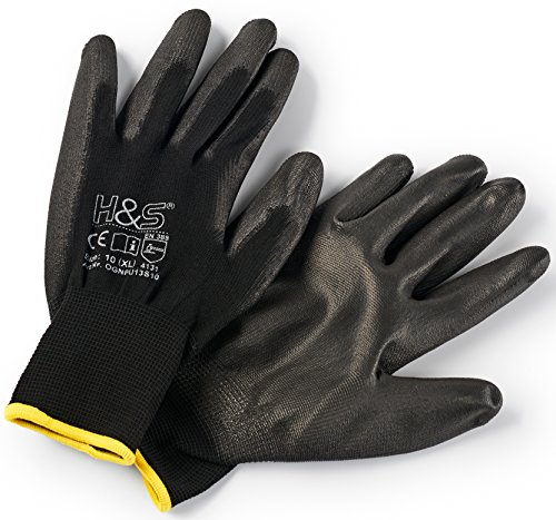 12 Paar Arbeits-Handschuhe von ISC H&S, Nylon, PU-beschichtet | verfügbar in S small (7), M medium (8), L...