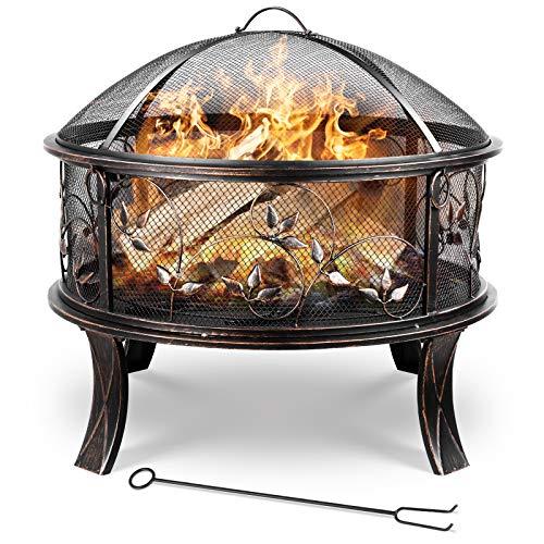 femor Feuerschale, 71x71x65cm, 27 '' Feuerstelle Garten, Feuerkorb mit Funkenschutzgitter, Schürhaken &...