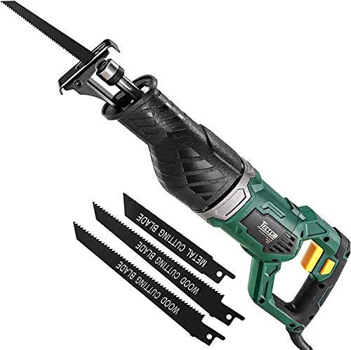 Säbelsäge, TECCPO Professional 1050W Säbelsäge 240V mit 2500 SPM, Schnitttiefe: 150 mm (Holz), 5 mm...