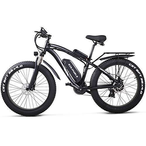 GUNAI Elektrofahrrad 1000W 26 Zoll Beach Cruiser Fat Bike mit 48V 17AH Lithiumbatterie (Schwarz)